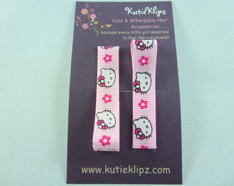 Sale - Everyday Hot Pink and Baby Pink M2M Kitty Cat Printed Hair Clips Set of 2  -  Hair Accessory, Party Favor