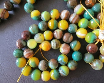 5 str- Yellow Green Agate 12mm Round Faceted ball Beads-- 33pcs/Strand