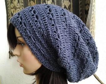 Handmade Crochet Long Rasta Tam Slouch - Dark Grey LRT19 - made to order