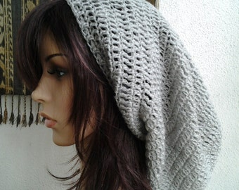 Handmade Crochet Long Plain Single Color Slouch - Grey LS75 - made to order