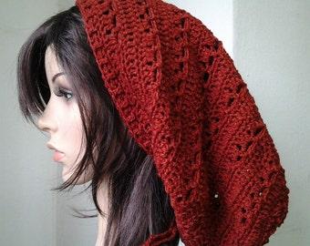 Handmade Crochet Long Rasta Tam Slouch - FireBrick LRT66 - made to order