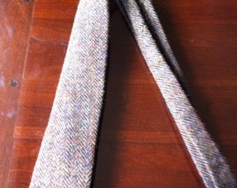 Mans Harris tweed neck tie made in Scotland gift Scottish  vegetarian wool plaid UK British herring bone brown