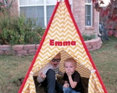 teepee for children in designer canvas fabric you choose, personalized with your child's name