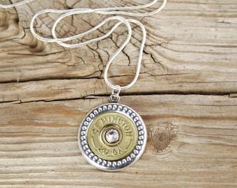 Bullet Necklace / 20 Gauge Brass Shotgun Shell Bullet Necklace REM-20-BNB-SSN / Shotgun Necklace / Wedding Necklace / Wedding Jewelry