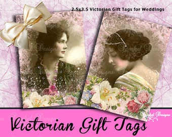 Victorian Wedding Gift Tags, Digital ATC  Tags - Printable  Gift Tags Floral Gift tags Printable Jewelry Cards Instant Download