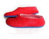 Colour Block Felt Wool Slippers / House Shoes / House Slippers / Women's Felted Slippers Red Blue White. Made to order. Women sizes