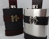 8oz Stainless Steel Flask and Custom Holster / Holder for Steampunk Pirate or Renaissance