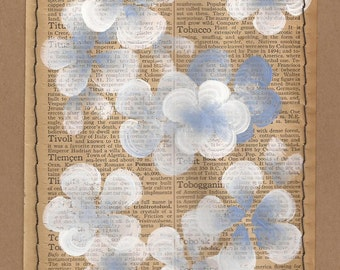Tobacco... recycled book art Periwinkle & Crisp White Blossoms painted on an Antique Encyclopedia book page Stitched to cardstock