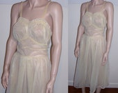 "vintage negligee Trousseaux by Terris sheer chiffon gown chiffon lingerie S/M 36"" bust / soft pastel yellow ruffle bust wedding bridal"
