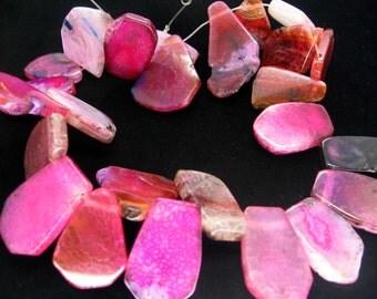 Freeform Fuchsia Pink Agate Slab Beads - 15 Inch strand