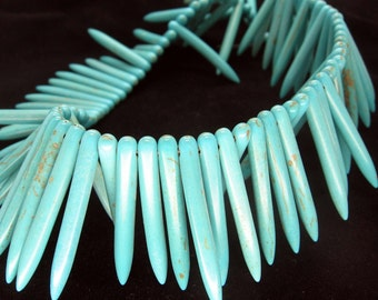 Full Strand Light Blue Turquoise Howlite Spike Beads