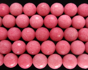 16mm Beautiful Pink Jade Faceted Round Beads - 16 Inch Strand