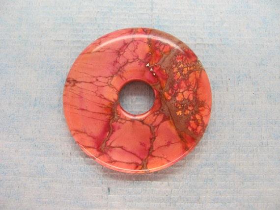 Beautiful Light Red Variscite Sea Sediment Jasper Donut Pendant