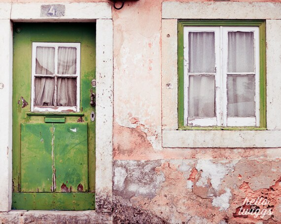 Lisbon, Green, Door photos, Urban Photography, Broken wall, Window images, travel photography, Frame wall, Wall decoration