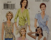 Side Wrap Blouse Pattern, V Neck, Side Tie, Sleeveless, Short Sleeves, Long Sleeves - Vogue No. 7876 Size 12 14 Bust 34 36