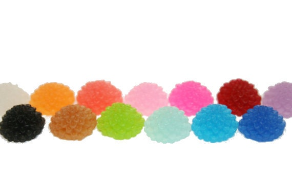 You Choose 20 Frosted 10mm Chrysanthemum Mum Dahlia Cabochon Flowers 13 Colors to Pick From