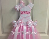 Tutu Dress Hair Bow Holder Baby Pink--Personalized