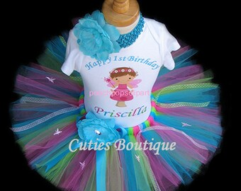 Fairy Birthday Outfit Set With Personalized Shirt --1st 2nd 3rd 4th--All Sizes 6 9 12 18 24 Months 2T 3T 4T-- Birthday, Photo