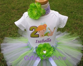 LIME Purple TINK Birthday Outfit With Personalized Shirt Set---- All Sizes 6 9 12 18 24 Months 2T 3T 4T