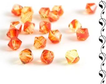 M.C. beads bicones 5 mm red-yellow 20 pcs.