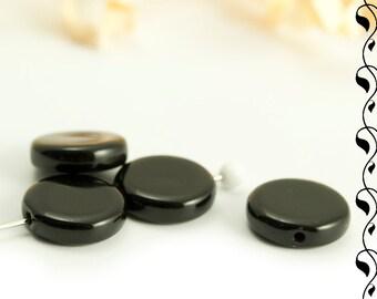 Czech Glass Coins 10 mm or 5 mm Black Jet