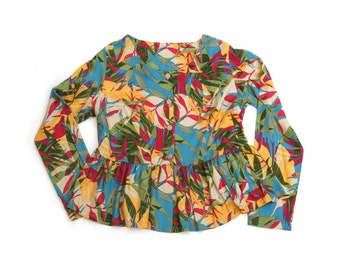 Clearance SALE/ Peplum Floral cardigan / Long sleeve blouse / Women buttoned top / Floral print winter shirt