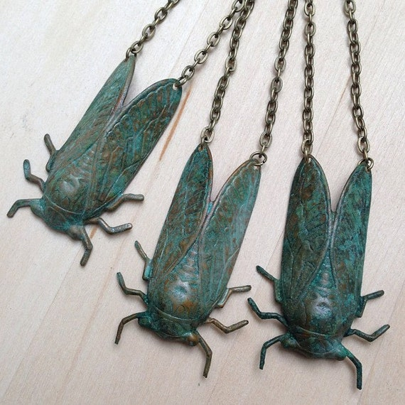 PRE-ORDER - Lucky Realistic Brass Cicada Pendant Necklace with Natural Patina