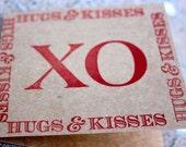 Valentines XO mini notecards, Kraft Valentine notecards- Hugs and Kisses