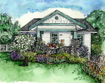 House Portrait in Pen/Ink and Watercolor from your photo- Custom Original by Patty Fleckenstein