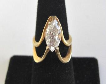 Handmade Sterling Silver Ring w/ 14K Gold Wash - Vintage, Unique Design