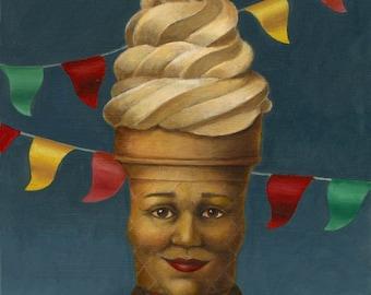 Mr Softee Portrait, Ice Cream Print, Anthropomorphic, Retro Food Print, Vintage, Mid Century, Food Icon, Roadside Attraction, Ice Cream Cone