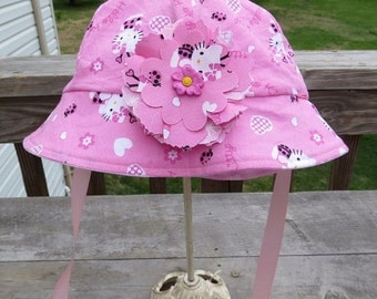 Child Reversible Cotton Sun Hat Girls Beanie Hat Hello Kitty Reversible Floppy Hat