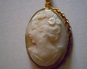 antique Shell Carved  CAMEO PENDANT Lady with Gardenia Edwardian 12K Free Domestic Shipping