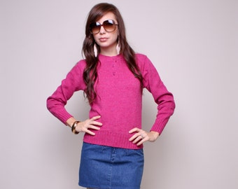 Small / Medium - 70s Hot Pink Sweater - Hush Puppies Sweater - Vintage Knit Sweater