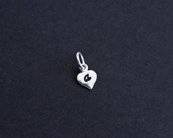 ADD A CHARM  - Sterling Silver Tiny Heart Initial Tag, Custom Initial Tag, Hand Stamped Initial, Personalize Your Jewelry.