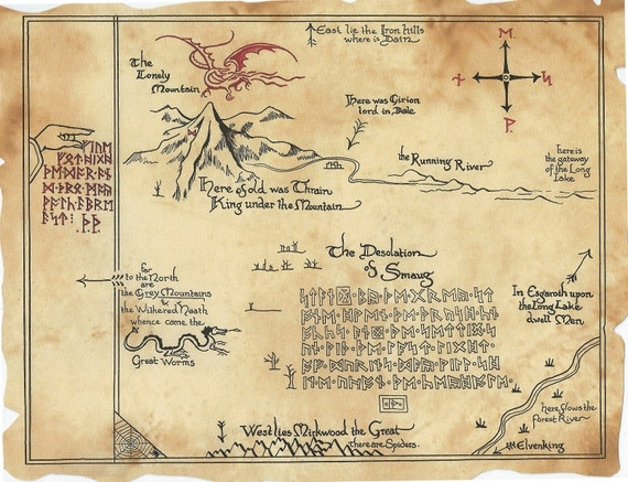 Thrrs Map The Hobbit inspired Thorins Map