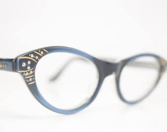 Blue Rhinestone cat eye glasses retro vintage