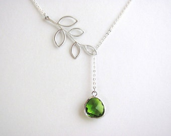 Peridot Branch Lariat Necklace in Silver- August Birthstone, customizable, botanical, available in gold and other birthstone colors.