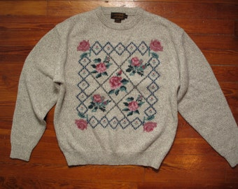 women's vintage Eddie Bauer floral pattern sweater.