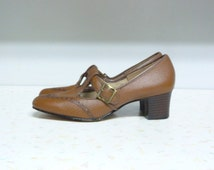 1930's-40's Ladies Leather T Strap Mary Jane Shoes Size 6 Vintage Mary Janes T Bar Shoes