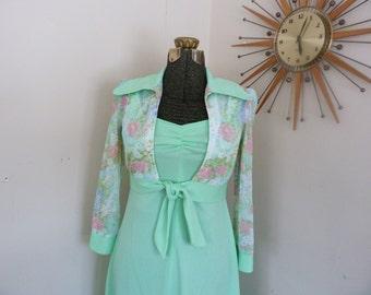 1970's Mint Green Pastel Maxi Dress With Bolero Vintage Mint Green Dress Boho Vintage