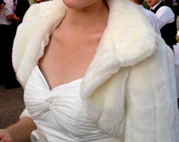 Bridal shrug, Ivory Faux Fur Bridal Jacket, faux fur bolero, prom fur bolero, faux fur shrug, faux fur wrap, bridal fur stole, faux fur ...