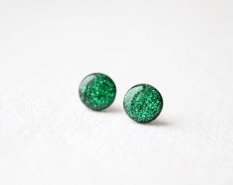 Emerald Green Glitter Stud Earrings