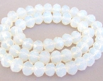 22 white opal crystal beads, 8mm Chinese crystal rondelles, translucent white opal