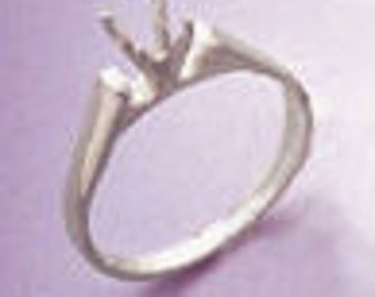 4-7mm Round Cathedral Style Sterling Silver Pre-Notched Ring Setting Size 7 (#163289)
