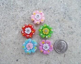 Pretty Flowers Flatback Cabochon - Set of 5