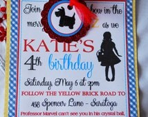Wizard of Oz Invitations - Set of 10 - Handmade - Includes Envelopes