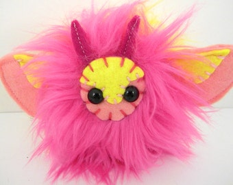 Rosy the plush moth rosy maple moth Little Lepidoptera butterfly hot pink and yellow -Made to order