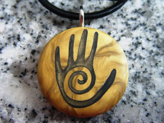 Native American Hand Symbol Carved On A Polymer By
