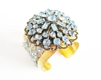 Bridal Cuff, Wedding Bracelet, Something Blue, Wedding Cuff, Vintage Inspired, Bridal Accessories